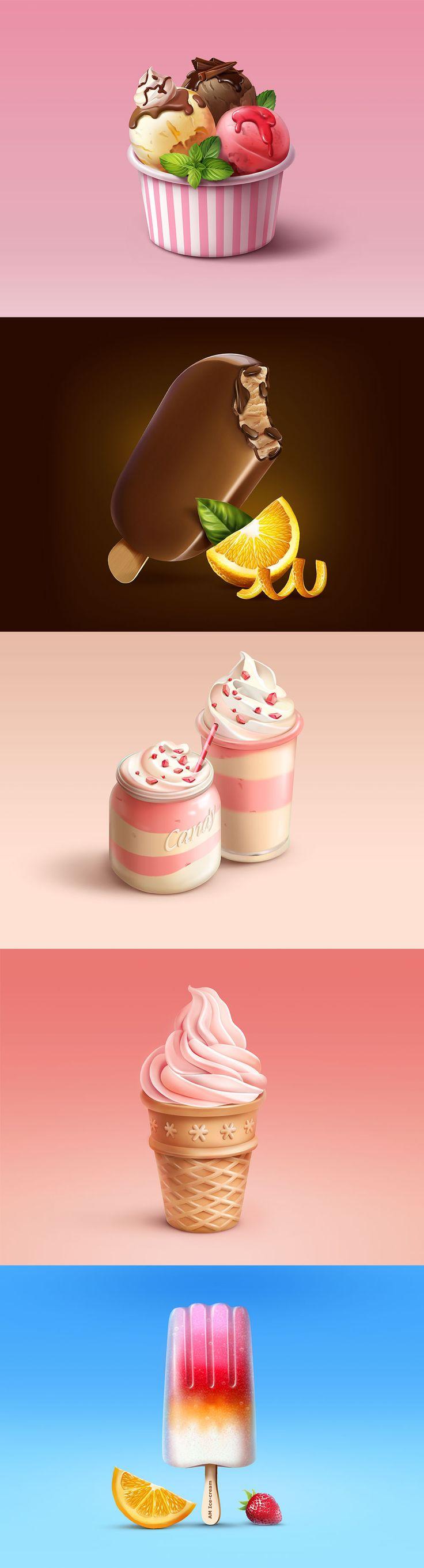 Иллюстрации мороженого, Illustration © Алия Манакова