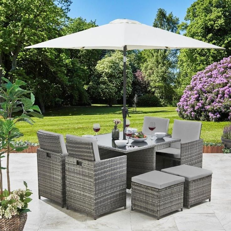 8 Seater Rattan Cube Outdoor Dining Set with Parasol ...