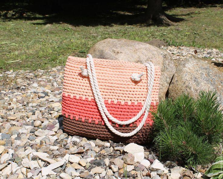 Купить Сумка пляжная из трикотажной пряжи Персик - кремовый, в полоску, пляжная сумка, трикотажная пряжа