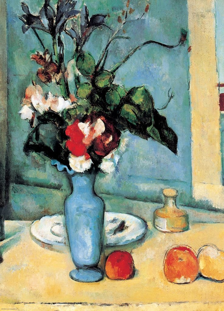 Blue Vase by Cezanne 1000-Piece Puzzle. Flowers and fruit were two of Paul Cezanne's (1839-1906) favorite themes. What really sets this piece apart is the subtle color modulation, which Cézanne focuses on so much that the blooms of the flowers seems almost ignored. The way light falls on objects and the resulting changes of color were