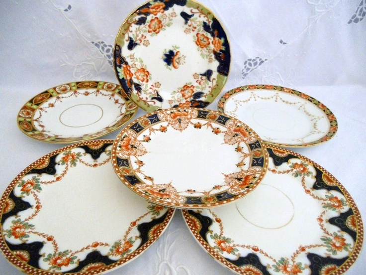 Set of 6 mixed Art Nouveau English bone china plates - rich Imari colours. & The 56 best Imari images on Pinterest | Porcelain Dinner ware and ...