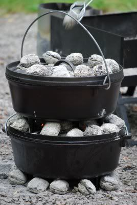 Dutch oven cooking, part 2: Stacking.  Includes info on dividing coals for different types of cooking (baking, roasting, stewing, simmering, frying, boiling).  Awesome outdoor cooking info.
