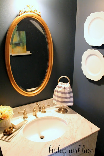 36 best images about powder room on pinterest for Navy blue and gold bathroom accessories