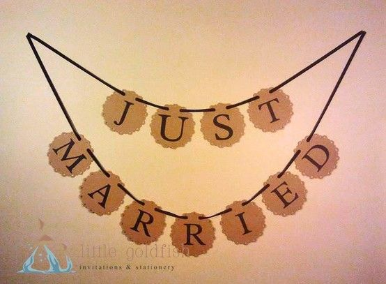 """Want to win this """"Just Married"""" Bunting from Little Goldfish?  Ends July 7th 2013  Check out https://www.facebook.com/nicsbuttonbuds/app_228910107186452"""