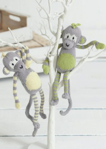 This is the first free pattern in the Noah's Ark knit-along designed by Sue Jobson. Molly & Mickey Monkey are made in Sirdar Baby Bamboo DK which is a wonderfully soft yarn with great stitch definition. You can download the pattern from the Sirdar website or from the Dianne's Knitting Yarns Sirdar Baby Bamboo DK page.
