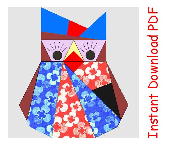 Mom Owl PDF quilt paper pieced Sewing Pattern INSTANT DOWNLOAD via Etsy