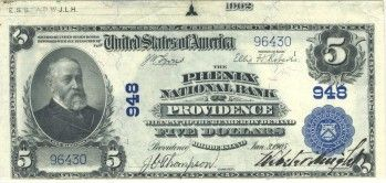 This is the top note from a cut sheet of 1902 plain backs issued by The Phenix National Bank of Providence. Rhode Island is of course the smallest state in the country. It didn't have many national banks, nor was a sizeable amount of banknotes issued by its banking institutions. So if you require a high grade blue seal for your state set then you will have a difficult time finding a better example than this peach from The Selvage Yard collection.