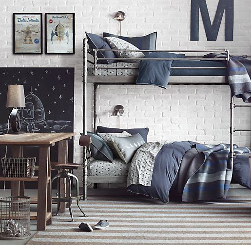 gray + navy boy's bedroom | Restoration Hardware Baby & Child.