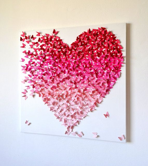 3D Pink Ombre Butterfly Heart/ 3D Butterfly Art / Nursery Decor /Girls  Room Art / Engagement / Wedding Gift /Romantic Art - Made to Order via Etsy