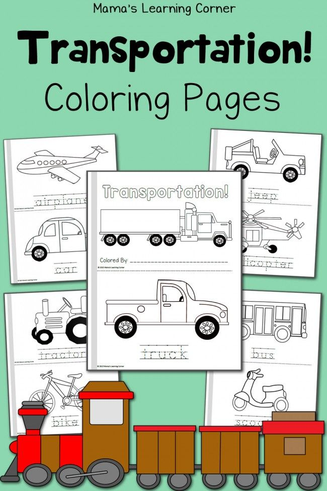 Free Transportation Coloring Pages! Includes 20 coloring pages to create a mini-book! Also includes handwriting practice.