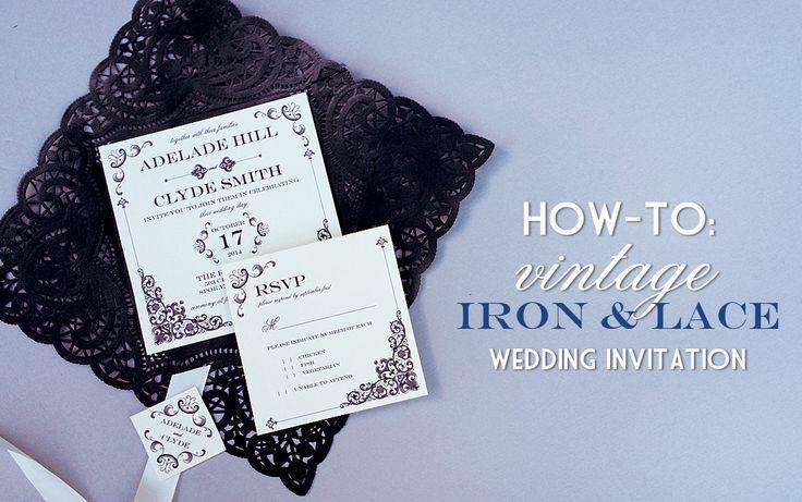 DIY Vintage Iron Wedding Invitation with Lace Pocket | Download & Print