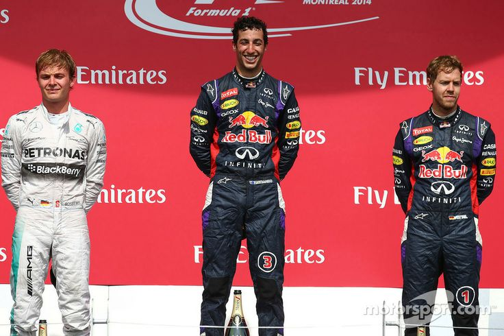 1st place Daniel Ricciardo, Red Bull Racing, 2nd place Nico Rosberg, Mercedes AMG F1 and 3rd place Sebastian Vettel, Red Bull Racing