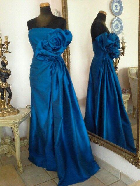 Blue silk dress I made for a bridesmaid.
