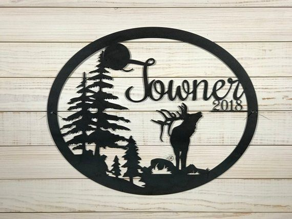 Large Metal Elk Hunting Welcome Sign 20 Inch Rustic Metal Decor Large Metal Sign Rustic Metal Decor Custom Metal Signs Metal Decor