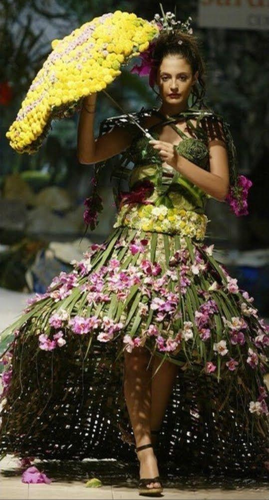 floral dress design and umbrella