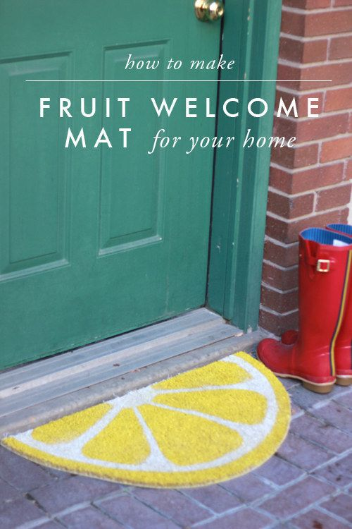 Turn a Trampa mat into a fruity spring accessory for your entryway. | 27 Incredibly Fun And Creative Ways To Transform Ikea Products
