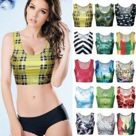15 Types Fashion Summer European Sexy camisole Women 3D Print crop tops suit top Short Vest Tank Tops