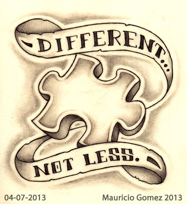 """Different...Not Less"" Sketch-A-Day from 04-07-2013 Copyright © 2013 Mauricio Gomez"