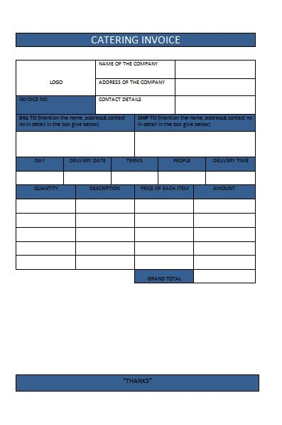 CATERING INVOICE 9