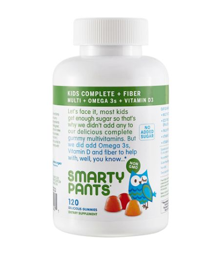 SmartyPants Kids Complete Gummy Vitamins with Fiber - Each Serving Includes: Premium nutrients, a delicious multivitamin for tastebud amazement, omega 3 DHA and EPA fish oil for brain health* (from sustainable small fish), prebiotic fiber for digestive health* (4 g soluble fiber), 2 g sugar per serving from GRAS-certified lo han fruit and inulin syrup.