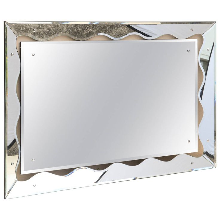 Hollywood Regency Monumental Scalloped Horizontal Mirror | From a unique collection of antique and modern wall mirrors at https://www.1stdibs.com/furniture/mirrors/wall-mirrors/