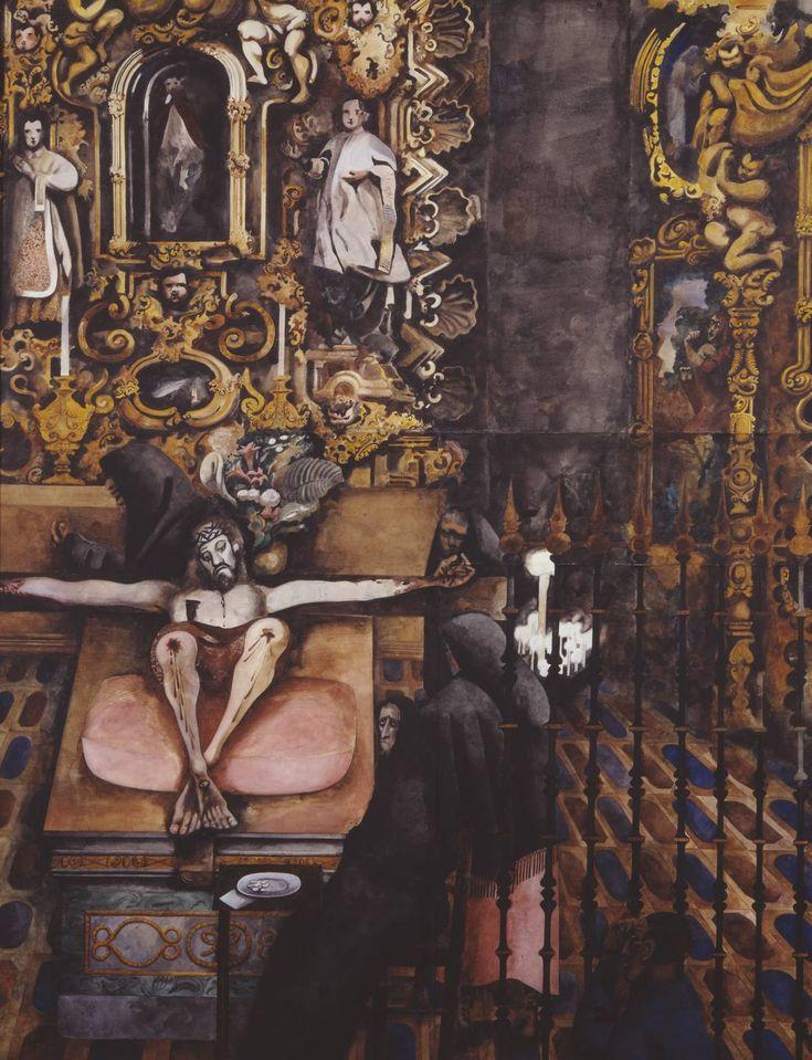 "deadpanaesthetic: ""Edward Burra, Mexican Church, 1938. """