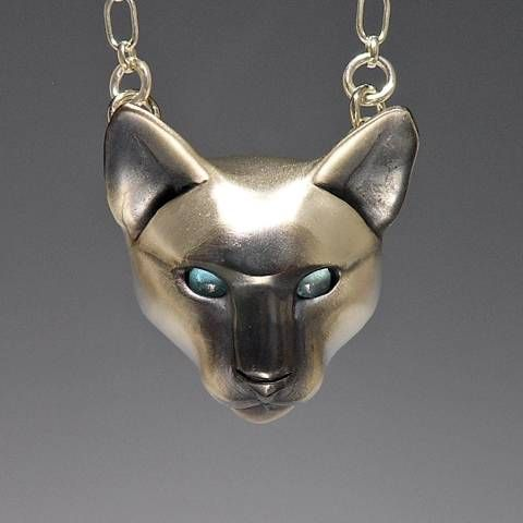 86 best cat jewelry necklace locket images on pinterest cat silver siamese cat w blue topaz eyes mozeypictures Choice Image