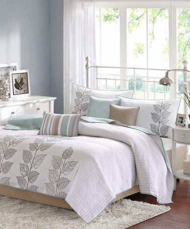 Look at this #zulilyfind! White & Blue Leaves Quilt Set #zulilyfinds