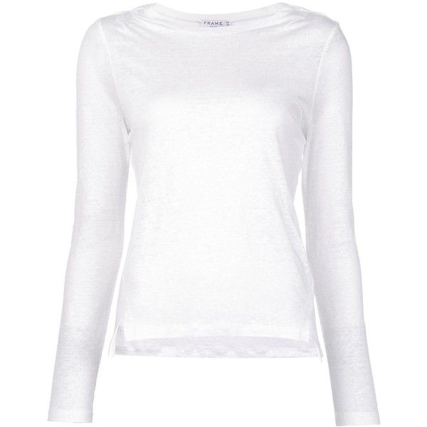 Frame Denim Longsleeved T-shirt (165 AUD) ❤ liked on Polyvore featuring tops, t-shirts, white long sleeve tee, long sleeve t shirts, linen tee, long sleeve tops and long sleeve tees