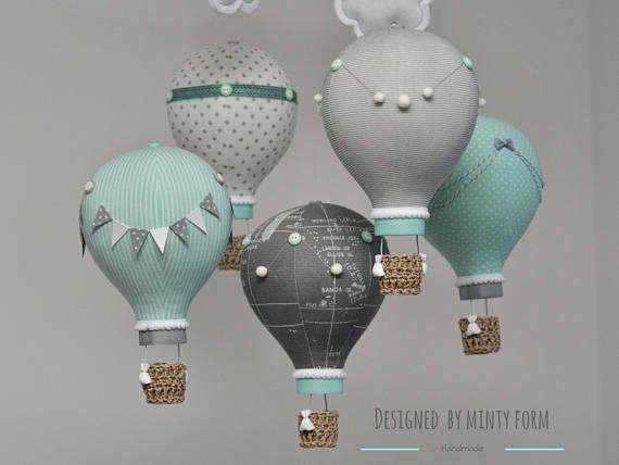 Schön Kinder Kinder Heißluftballon Lampenschirm Grau//Weiß Sterne