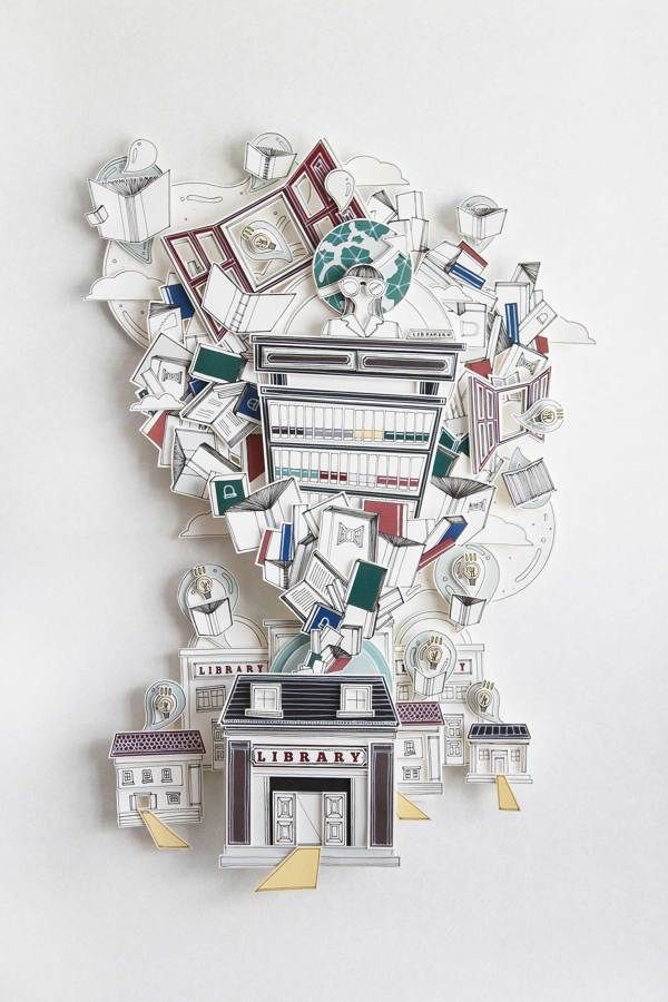 LIBRARY by Tawan Ithijarukul, via Behance