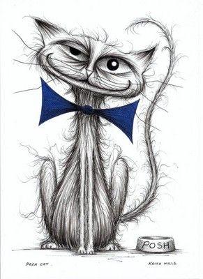 Posh cat Handmade art by Keith Mills