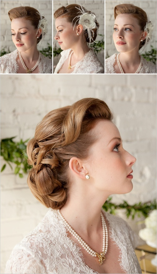 retro inspired wedding hair...this would look really great with your hair!