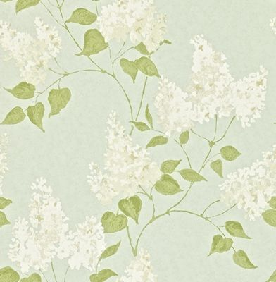 Lilacs (211983) - Sanderson Wallpapers - A romantic, sophisticated lilac tree floral design with subtle tonal effects. Shown in white on a duck egg colouring. There are more colours available. Please request a sample for a true colour match. Paste-the-wall product.