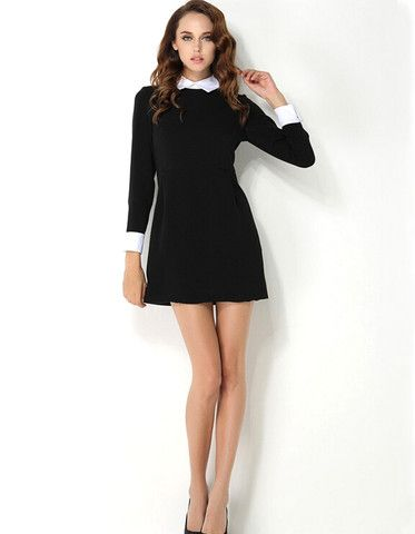 Elegant White Collar Long Sleeve Black Dress – EDITE MODE