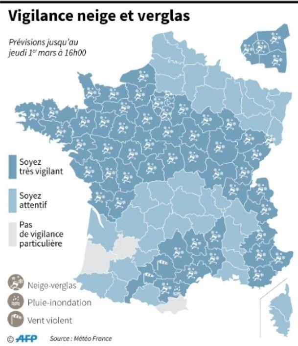 Carte de vigilance neige et verglas de Météo France jusqu'au jeudi 1er mars à 16h00