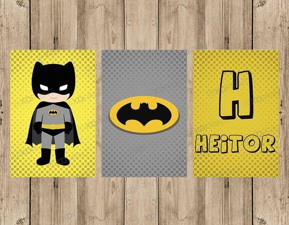 Quadro Decorativo MDF Heróis Batman Baby Nome personalizado  4d340610ea0
