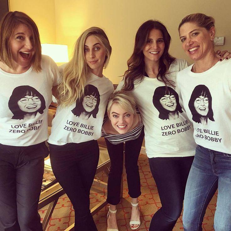 Emma with Rachel Goodwin (her makeup artist), Mara Roszak (her hairstylist), Petra Flannery (her stylist) and a friend.