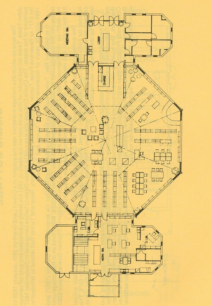 The original plan for Windsor Central Library, an octagonal shape building, which opened in 1980. The Library relocated from Dight Street to 300 George Street in 2005.