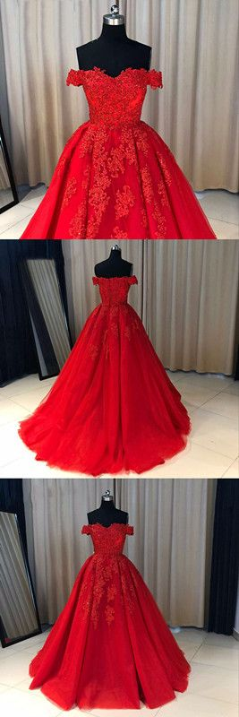Fashion Ball Gown Off-The-Shoulder Red Long Prom Dress With Appliques P0192 #promdresses #longpromdresses #2018promdresses #redpromdresses #promgown #2018newstyles #fashions #styles #hiprom #ballgownpromdress