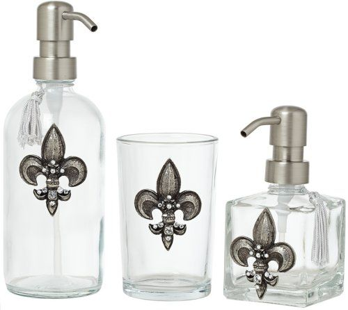 3 Piece Silver Fleur De Lis Bathroom Accessory Set