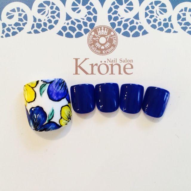 ネイル 画像 Nail Salon Krone【ネイルサロン クローネ】 幕張 1096487 ブルー フラワー フット
