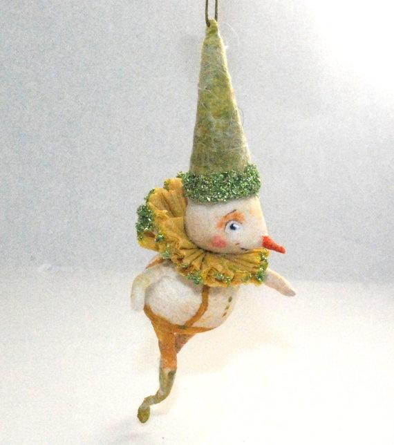 OOAK Spun cotton holiday vintage craft ornament jejeMae
