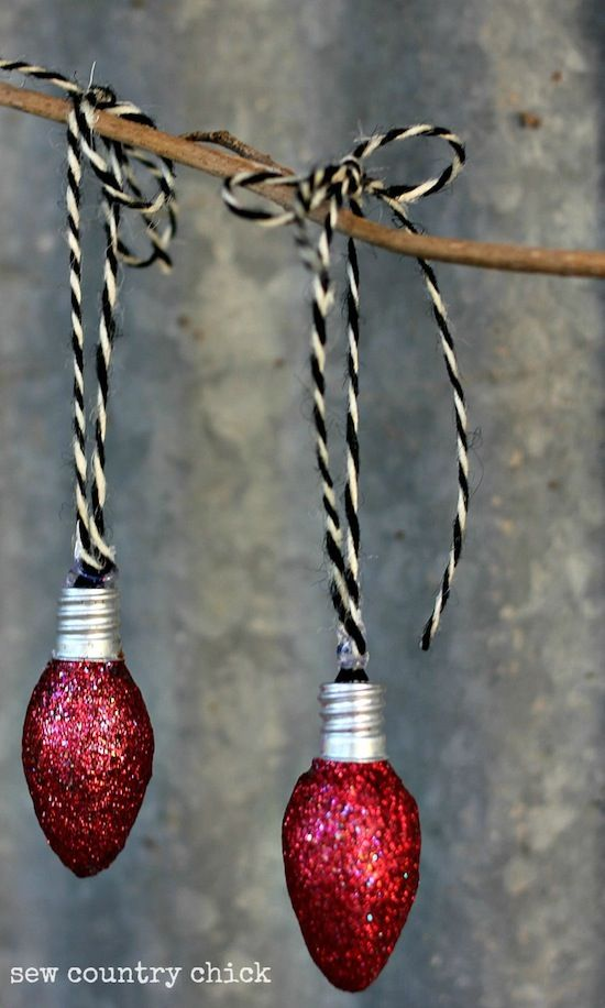 $1 Store Upcycle ~ buy a package of plain night light bulbs (4 for $1!) sponge on Modge Podge sprinkle heavily with glitter (3 for $1) add a cute ribbon for hangining. I can see these hung at various levels along the frame of a large window.