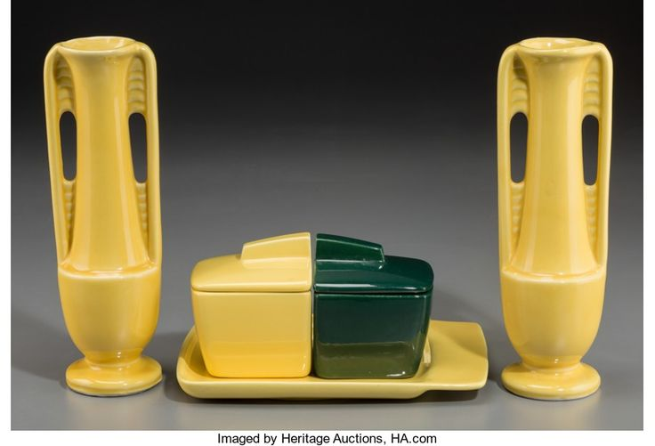 Ceramics & Porcelain, American, Two Art Deco Yellow Ceramic Bud Vases with a Three-Piece FranciscanEl Patio Pattern Porcelain Jam Set. Marks: ... (Total: 5Items)