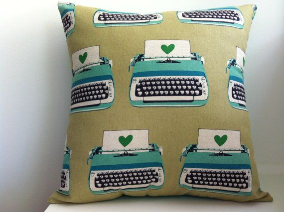 Retro Modern Typewriter Design Throw Pillow Square Cushion Cover, featuring Ruby Star Rising fabric in Aqua, Jade, Taupe Cotton Fabric. $30.00, via Etsy.