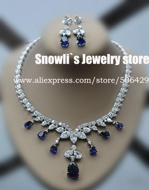 2014 Luxury Fashion Elegant Sapphire CZ Austria Crystal Necklace Earrings Set Wedding Banquet