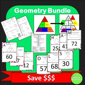 Geometry Bundle: Save $$$ on 6 great geometry activities!  This bundle includes:Perimeter, Area, Volume Worksheet, Introduction to Geometry Vocabulary Self-checking Worksheet, Geometry Vocabulary Triangle Game for Smart Board or PowerPoint, Composite Area Scavenger Hunt, Midsegment Theorem Scavenger Hunt, Triangle Sum Scavenger Hunt.  Answer Keys are included.