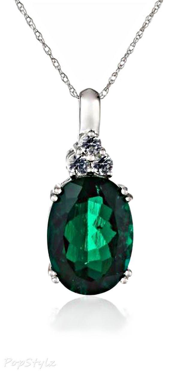 White Gold Oval Emerald Gemstone Necklace