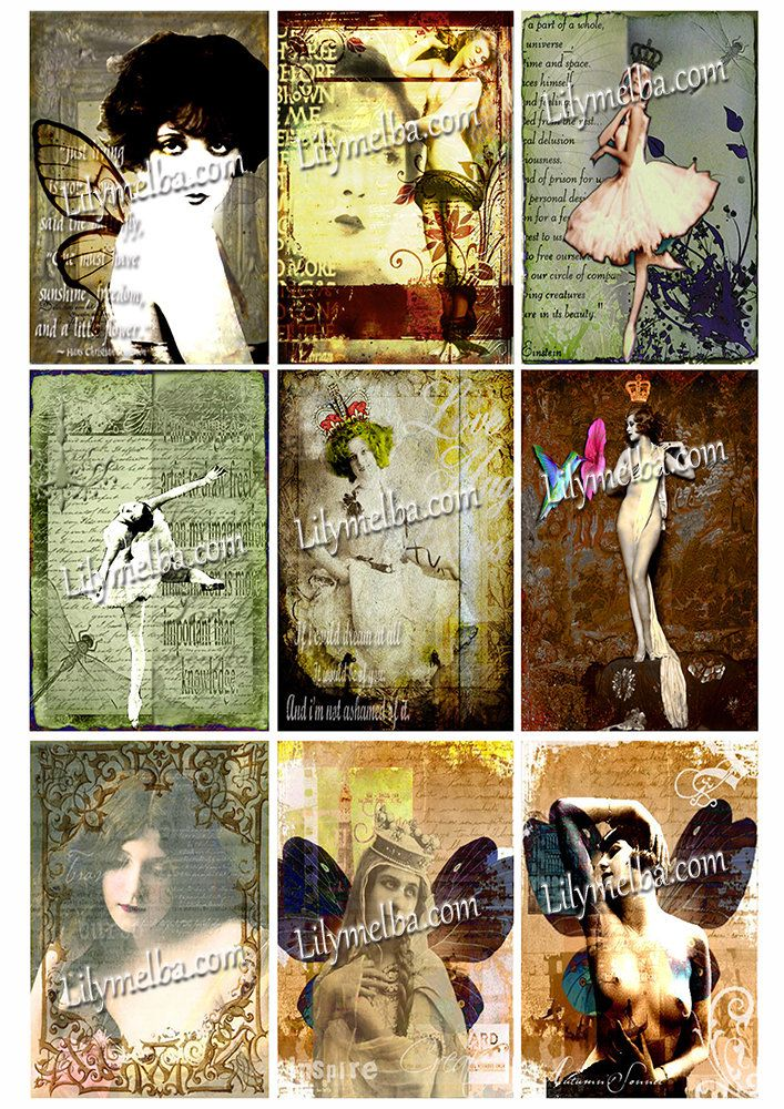 Artist Trading Card Women 6..... A4 digital download collage sheet... by Lilysart1 on Etsy